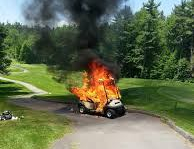 golf cart on fire